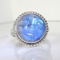 Rainbow Moonstone Man in the Moon Ring