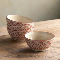 RED FLOWER BOWLS, SET OF 4