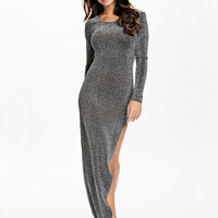 Lurex Long Slit Dress - Nly Eve - Silver - Party Dresses - Clothing - Women - Nelly.com