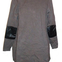 Gray Leather Patchwork Sweater with Side Zippers and Pockets Womens Clothing Extra Large