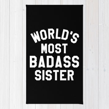 WORLD'S MOST BADASS SISTER (White Art) Area & Throw Rug by CreativeAngel | Society6