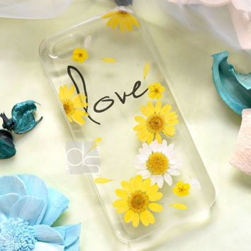 JZL Daisy DIY Real Pressed Flower Bling Hard Skin Case Cover For Samsung iPhone