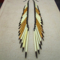Desert Sand - Porcupine Quill Tassel Earrings