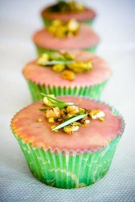 Pistachio Cake Cupcakes with Rosemary and a Cherry Glaze ~ Cupcake Project