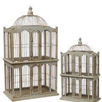 Antiqued Wood Birdcage Wedding Home Decor Accent Store Window Prop
