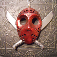 Friday Night Massacre Red Glitter Jason Hockey Mask With Crossed Machetes