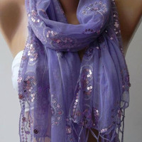 Lilac - Elegance Shawl / Scarf with Lace Edge...