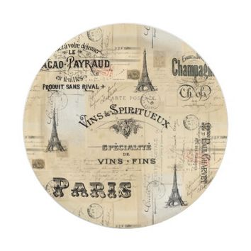 Paris Label Collage French Postcards Paper Plate