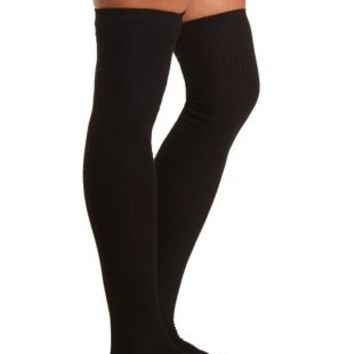 Textured Thigh-High Socks by Charlotte Russe - Black