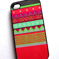 Neon Tribal iPhone 4 / 4S Sassy Cases Cute and Unique Phone Cases Aztec Pink Green Apple