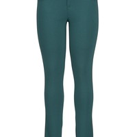 the skinny knit pant with faux leather piping
