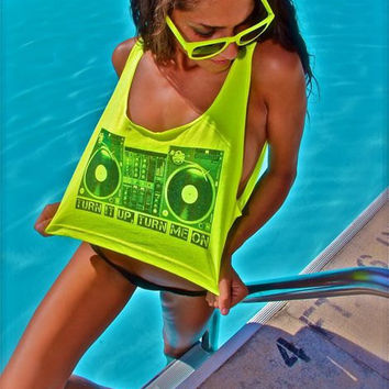 "Neon Yellow Crop Tank Top Shirt TURN TABLES print "" turn it up, turn me on"" by Neon Nancy"
