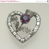 Vintage Ward Brothers Sterling Silver Scottish Thistle Heart Brooch