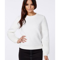 Missguided - Nicole X Biker Sleeve Neoprene Sweatshirt White