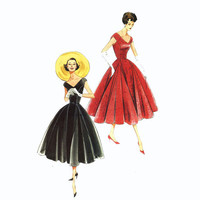1950s cocktail dress and belt sewing pattern Vogue V1172 Retro Vintage 1957