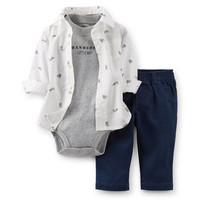3-Piece Print Shirt & Twill Pant Set