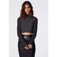 Missguided - Antonina Knitted Funnel Neck Crop Jumper Dark Grey