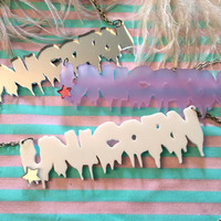 UNICORN Drippy Font Acrylic Necklace in White, Lilac, or Silver
