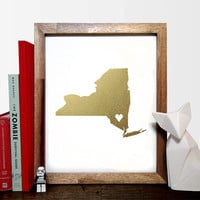Faux Gold Foil State of Your Choice - With Heart In Any Location - USA Print  - Home Decor - Housewarming Gift - Wedding Gift - Dorm Decor