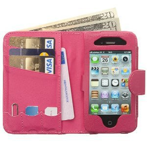 Manhattan Leather Wallet Case for iPhone 4G-Hot Pink: Cell Phones &amp; Accessories