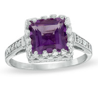 8.0mm Princess-Cut Amethyst and White Topaz Crown Ring in Sterling Silver