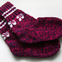 Hand Knitted Wool Socks - Red and Black