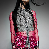 PINK & SILVER SEQUINNED & SHEER SHIRT '2014 RUNWAY COLLECTION'