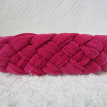 Pink Braided Headband / Women's Headband / Girls Headband / Knotted Headband / Hipster Headband / Workout Headband / Soft Headband