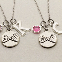 Best Friend Gift | 2 Best Friends Pinky Promise Necklaces | Gift for Best Friend | Personalized Birthstone Jewelry | Custom Monogram Jewelry
