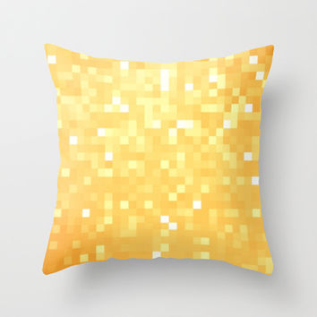 Golden Pixel Sparkle Throw Pillow by 2sweet4words Designs