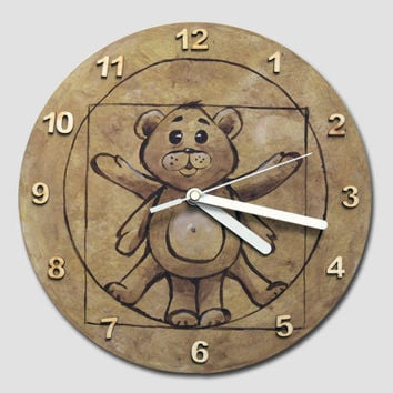 Teddy Bear WALL CLOCK, toddler room decor, funny home decor, nursery wall  decor, children room decor