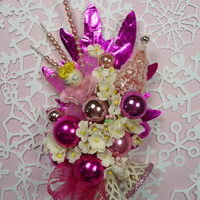 Christmas Corsage Vintage Spun Cotton Pink Angel Sparkle Bottlebrush Tree Hot Pink Mercury Glass Decoration Gift