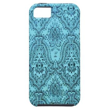 Aqua Victorian Pattern iPhone Case