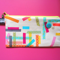 Washi Tape Pencil Case with Robot Zipper Pull