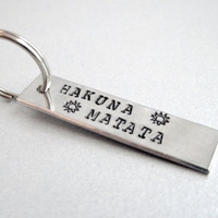 Hakuna Matata Lion King Hand Stamped Keyring - Customizable