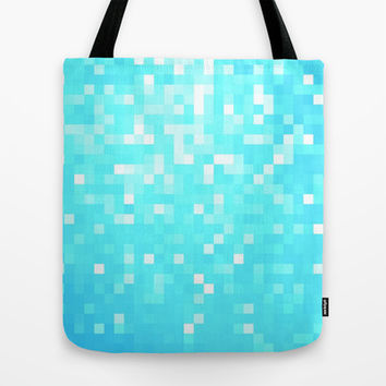 Turquoise Pixel Sparkle Tote Bag by 2sweet4words Designs