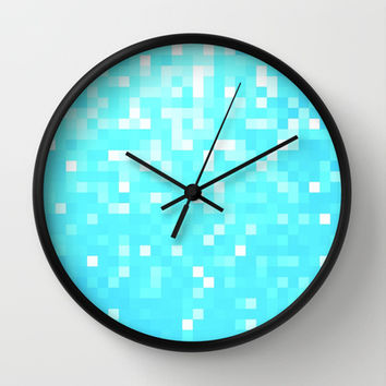Turquoise Pixel Sparkle Wall Clock by 2sweet4words Designs | Society6