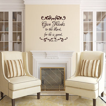 Vinyl Wall Decal Give Thanks to the Lord Christian Thanksgiving Decor 22479