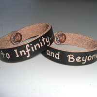 To Infinity... and Beyond... BROWN 100% genuine Italian leather engraved bracelets unisex - total 2 bracelets