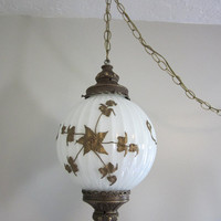 Vintage 70's swag hanging chain light fixture