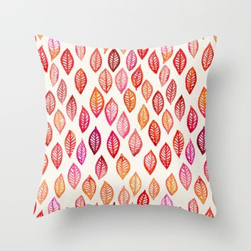 Watercolor Leaf Pattern in Autumn Colors Throw Pillow by micklyn