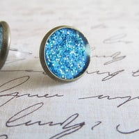 Blue Sand Stud Earrings