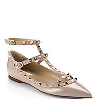 Valentino - Rockstud Leather Cage Flats - Saks Fifth Avenue Mobile