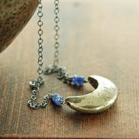 Pyrite Crescent Moon Necklace in Sterling Silver, Pyrite Sapphire Necklace, Modern Minimal Statement Jewelry