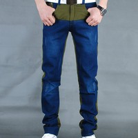 Men Fashion Straigt Slim Blue Split Joint With Yellow Jean/Pants S/M/L/XL/XXL/3XL@X302NH7S5N03ag