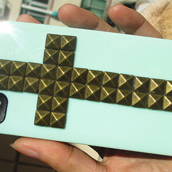 Cross Antique Brass Pyramid stud And Hard Light Green Case For Apple iPhone 4 , iPhone 4s, iPhone 4 Hard Case, iPhone Case