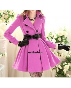 Elegant purple buckle long lady coat _Fashion Coats_Mili fashion Trade Co.Ltd