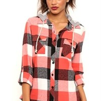 Long Sleeve Flannel Top with Attached French Terry Hood