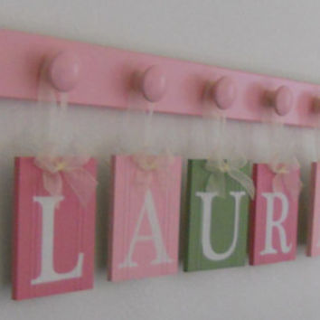 Pink and Green Personalized Baby Girl Nursery Name Wall Sign, Custom for LAUREN Includes 6 Wood Peg and Ribbon Plaques, Kids Room Wall Decor