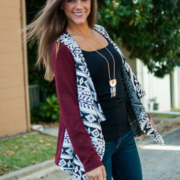 I'll Be There Cardigan, Wine/White